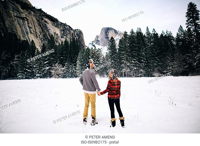 Rear view of couple holding hands on snow-covered landscape