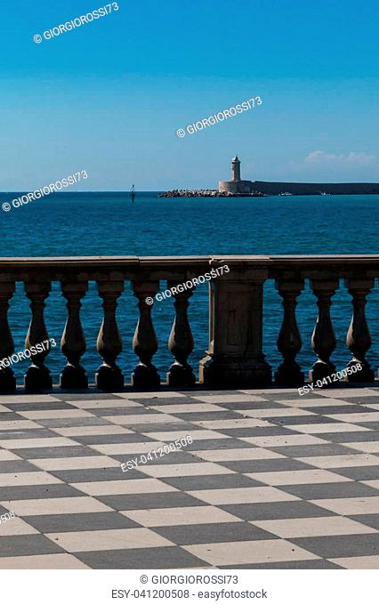 Livorno' s Mascagni Terrace and White LightHouse in background, Tuscany - Italy
