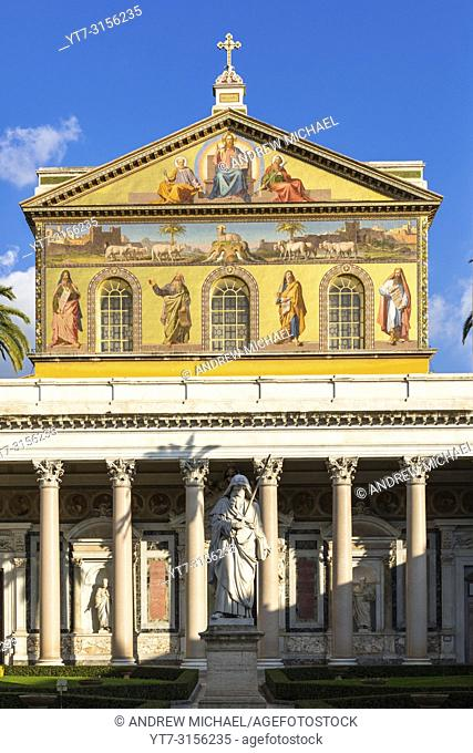 Basilica of Saint Paul or Basilica di san paolo fuori le mura just south of the old city walls. Rome. Lazio, Italy