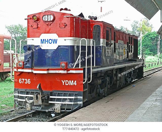 Railway diesel Engine on Meter gauge track Mhow, Madhyapradesh, India