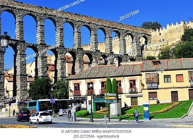 The Roman Aqueduct, Ith century BC. Segovia, Spain