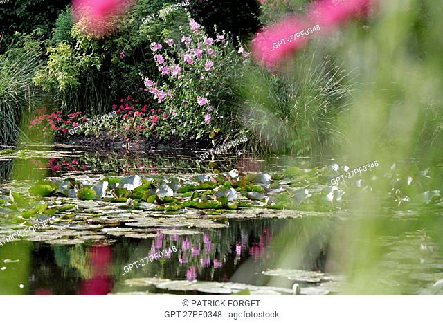 THE WHITE WATER LILY POND IN THE IMPRESSIONIST PAINTER CLAUDE MONET'S WATER GARDEN, GIVERNY, EURE 27, FRANCE