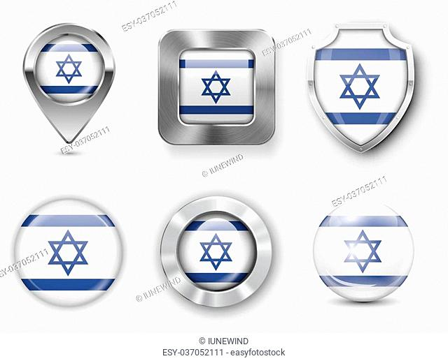 Israel Metal and Glass Flag Badges, Buttons, Map marker pin and Shields. Vector illustrations