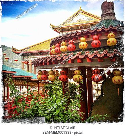 Keh Lok Si temple decorated for Chinese New Year, Penang, Malaysia