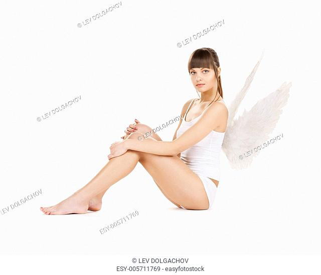 bright picture of white lingerie angel girl