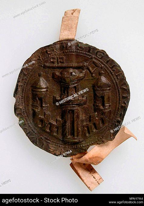 Seal Impression, City Gates. Date: ca. 1358; Culture: Netherlandish or South Lowlands (?); Medium: Brown wax; Dimensions: Overall (with parchment ribbons): 4...