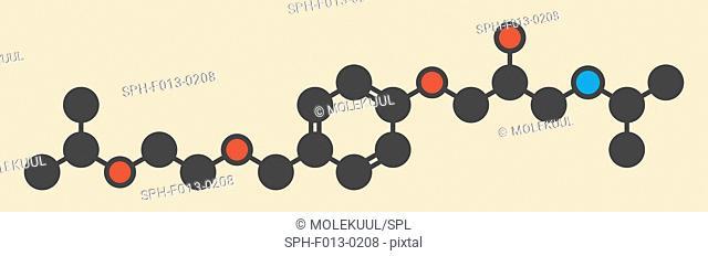 Bisoprolol beta blocker drug molecule. Used to treat high blood pressure (hypertension), cardiac ischemia, etc. Stylized skeletal formula (chemical structure)