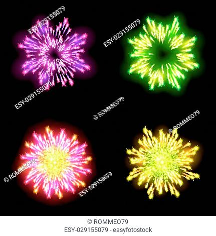 Festive patterned firework bursting in various shapes sparkling pictograms set against black background abstract vector isolated illustration art