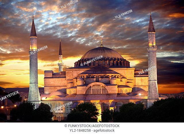 The exterior of the 6th century Byzantine Eastern Roman Hagia Sophia  Ayasofya  at sunset, built by Emperor Justinian  The size of the dome was un-surpassed...