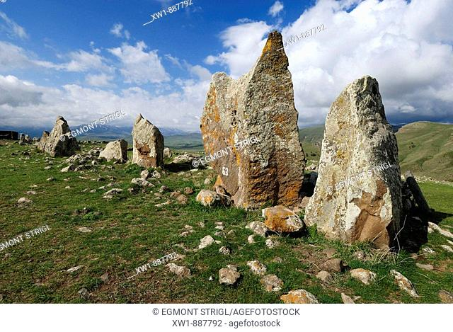 Zorats Karer, 6000 B.C. stoneage observatory, menhir of Karahunj, Cara Hunge, Armenia, Asia