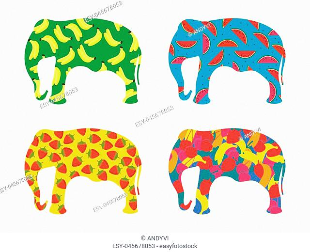 Indian elephant with a pattern of berries and fruit isolated on a white background. Bananas, strawberries and watermelon. Set of vector illustrations