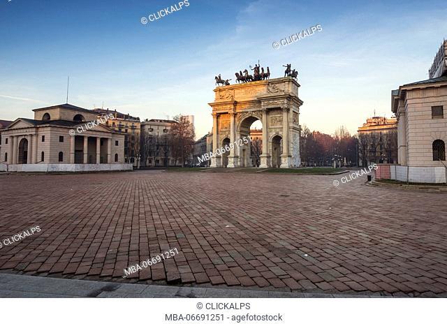 Milan, Lombardy, Italy. Porta Sempione or Arco della Pace at sunrise