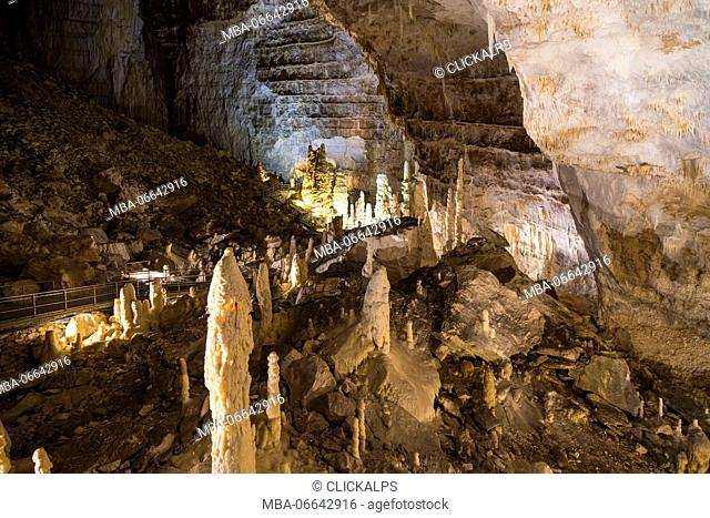 The natural show of Frasassi Caves with sharp stalactites and stalagmites Genga Province of Ancona Marche Italy Europe