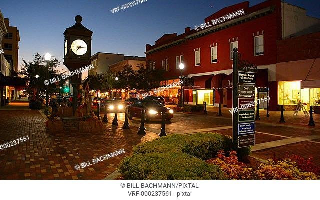Sanford Florida historic district of 1st street in an old town in Florida known for farming, auto train and Trayvon Martin who was murdered black teenager in...