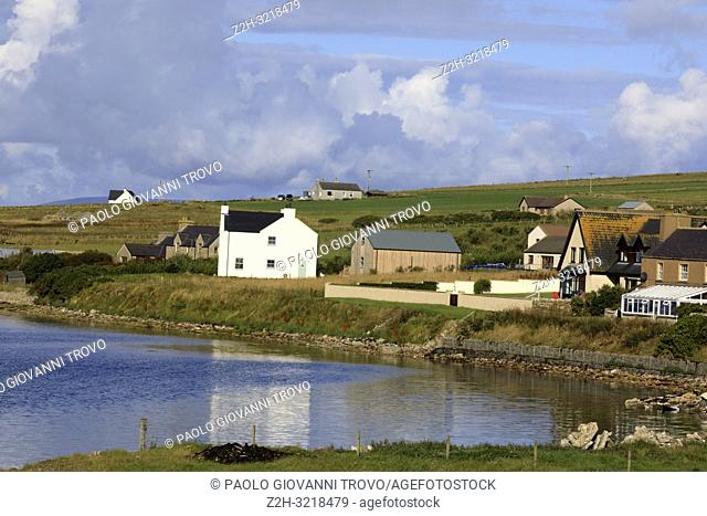 Landscape near harbour of Scapa Flow, Orkney, Scotland, Highlands, United Kingdom
