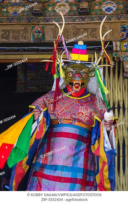 Buddhist monk performing Cham dance during the Ladakh Festival in Leh India