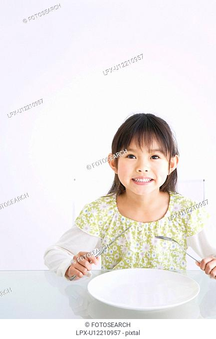 Girl waiting for her food