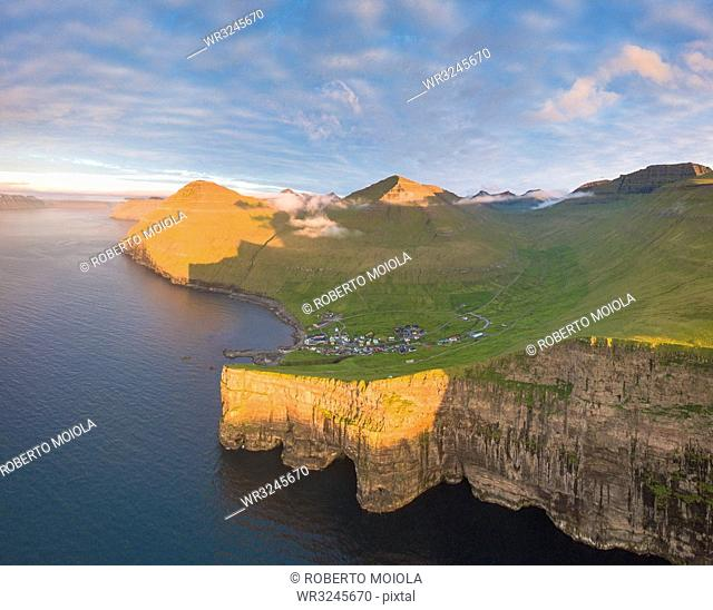 Aerial panoramic of of Gjogv, Eysturoy island, Faroe Islands, Denmark, Europe