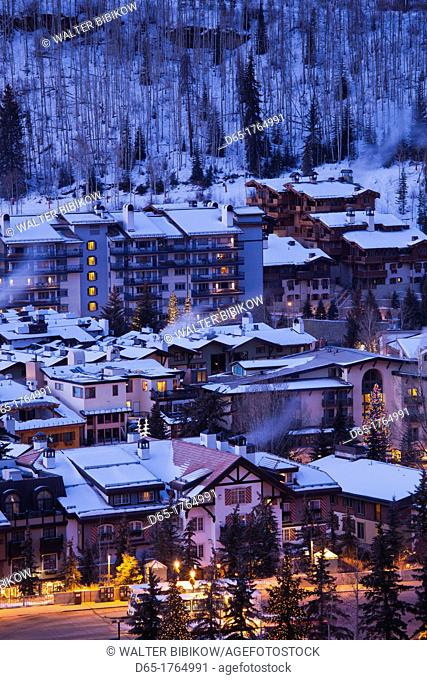USA, Colorado, Vail, elevated town and resort view, dawn, winter