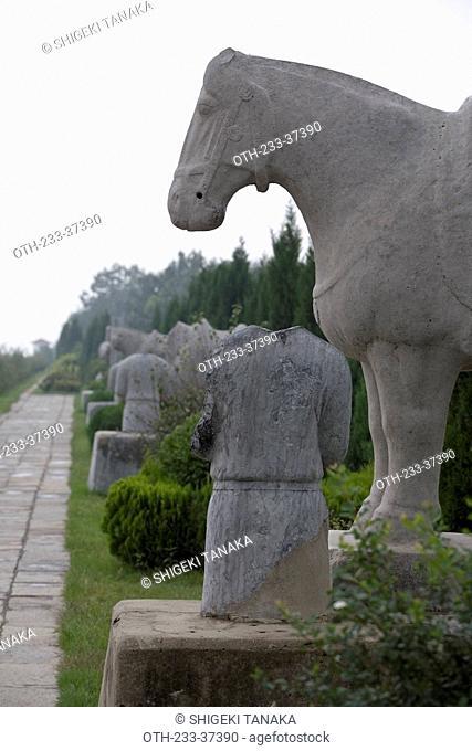 Shendao the long spirit approach to Qian tomb, Xian, China