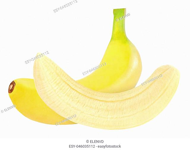 whole and peeled banana isolated on white background with clipping path