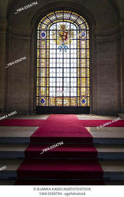 Interior with stained glass window, Art and history museum, the largest museum in the city, Geneva, Switzerland