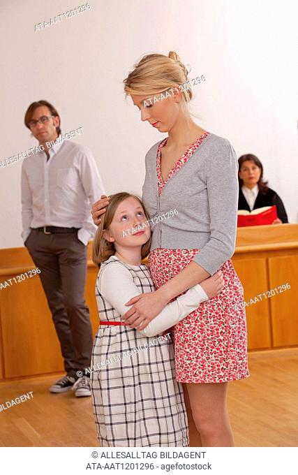 Young family in the courtroom