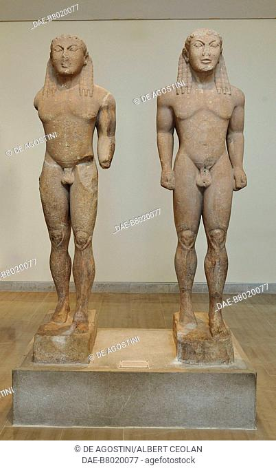 Kouroi, Castor and Pollux or Kleobis and Biton, 580 BC ca, marble statues attributed to Polymedes of Argos, height 216 cm