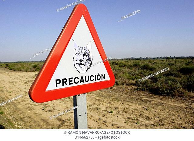 Sign. Doñana National Park. Huelva province. Spain