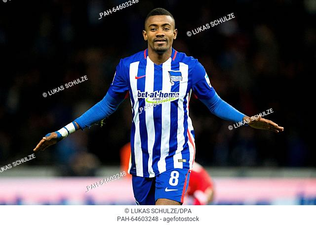 Berlin's Salomon Kalou celebrates after his goal at 2:0 during the German Bundesliga football match between Hertha BSC and FSV Mainz 05 at the Olympiastadion in...
