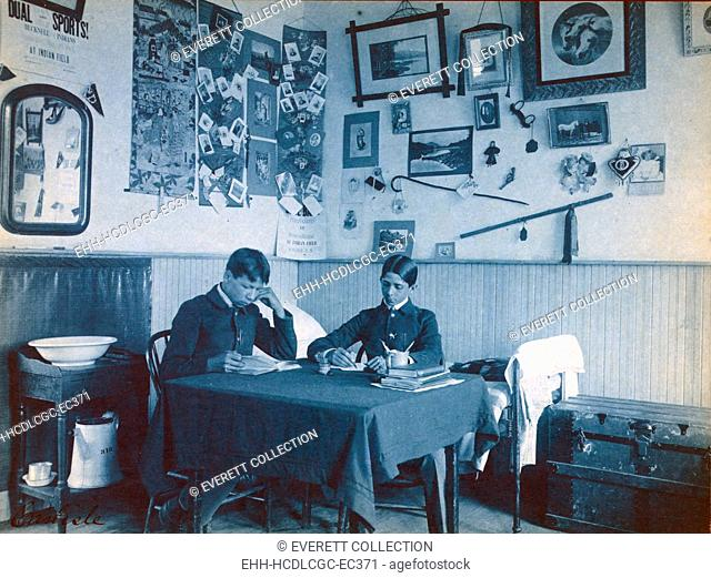 Carlisle Indian School, Carlisle, Pa. Two Native Americans boys studying in dormitory room. Cyanotype by Frances Benjamin Johnston ca. 1901