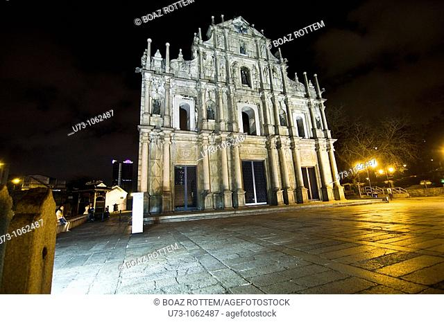 The beautiful facade of St. Paul cathedral in Macau