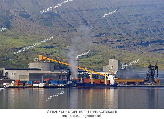 Aluminium smelter in Reyðarfjoerður, eastern fjords, Iceland, Europe