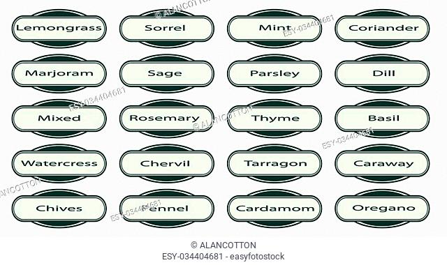 A collection of herb web buttons and labels isolated over a white background