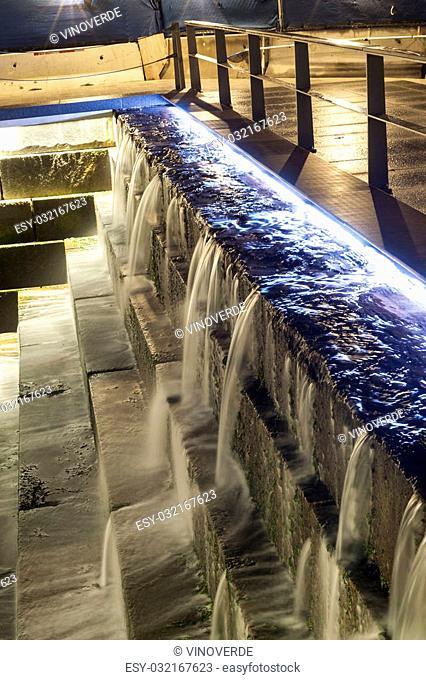 Long exposure manmade cascade on Fan Pier along Boston Harborwalk