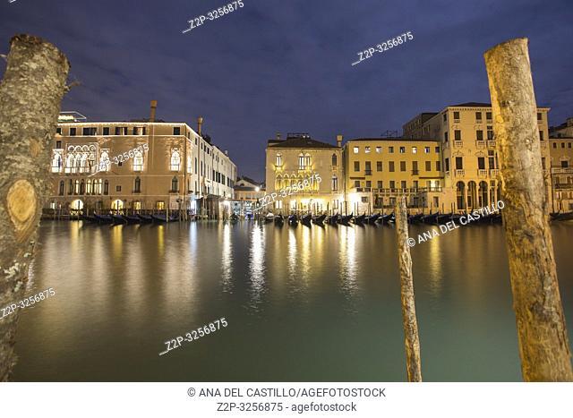 Venice, Veneto, Italy : Twilight at Grand Canal. Rialto market
