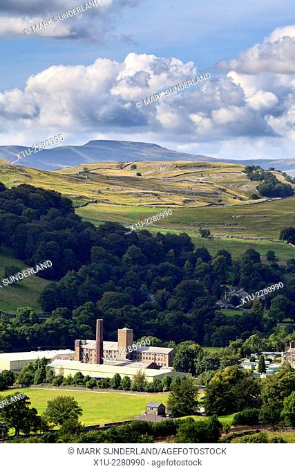 Langcliffe High Mill in Ribblesdale from Blua Crags above Settle Yorkshire Dales England