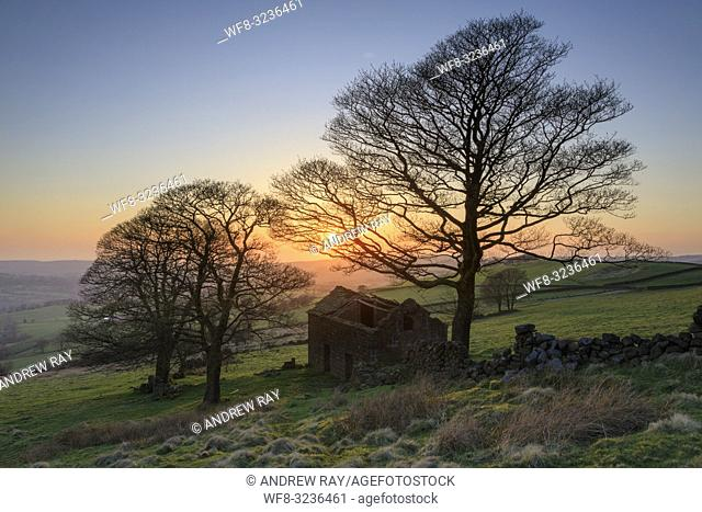 Roach End Barn in the Peak District National Park captured shortly before sunset on an evening in late April