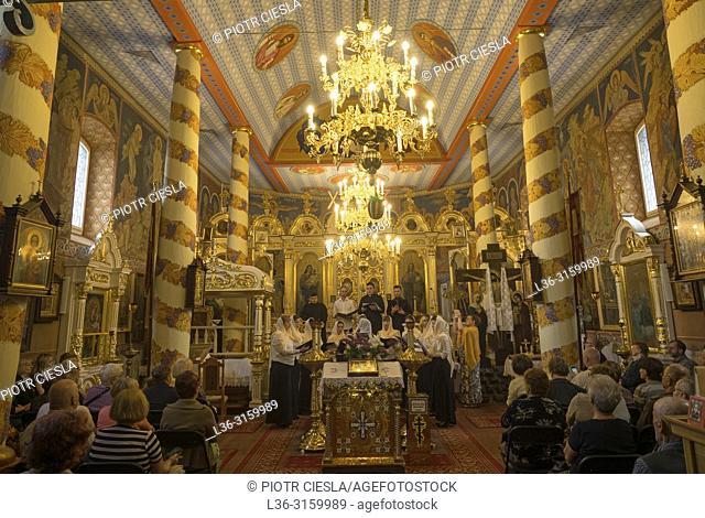 The orthodox church. A mass. Mielnik. Podlasie region. Poland