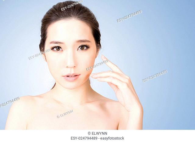 Asian glamour of beauty face, closeup portrait