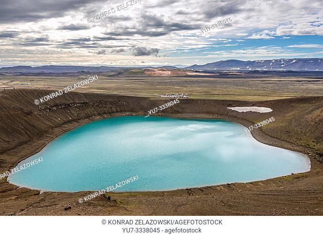 Lake inside Viti - Hell crater of Krafla caldera in Iceland