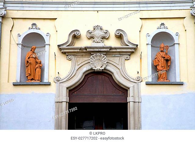church door in italy lombardy column the milano old  closed brick