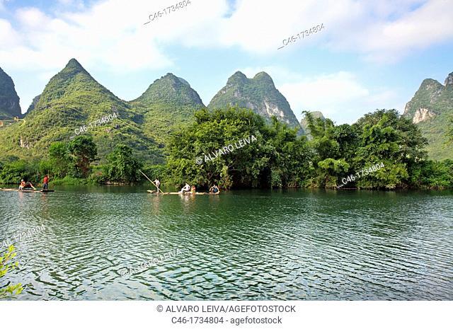 Yulong river tributary of Li river  Yangshuo, Guangxi, China