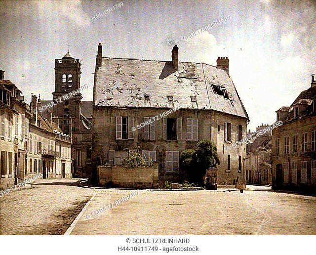 War, Europe, world war I, 1917, Europe, world war, color photo, Autochrome, F. Cuville, western front, department Aisne, France, Soissons, ruins, destruction
