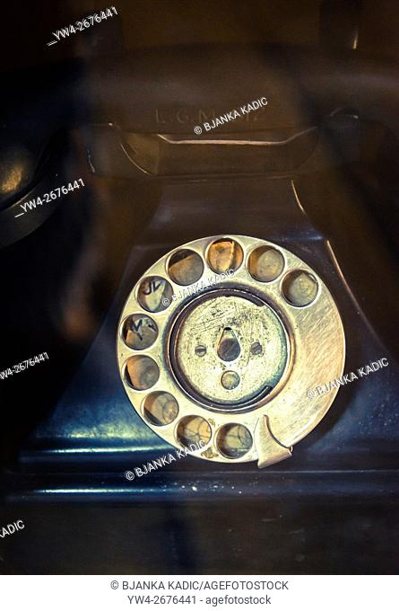 Telephone with rubbed out numbers