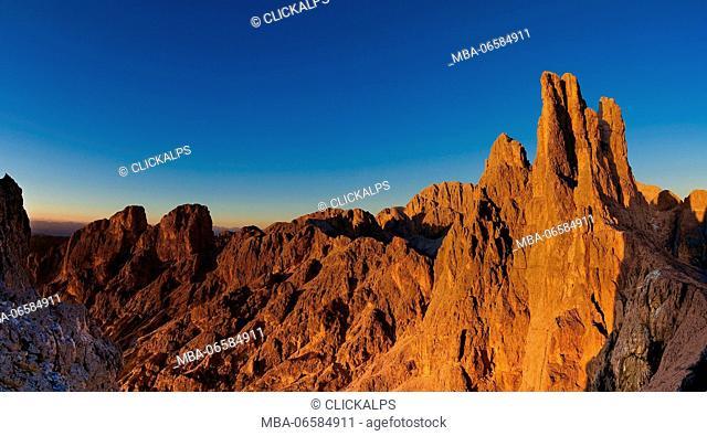 Europe, Italy, Dolomites, Trentino, Alto Adige, Fassa valley, Vajolet towers