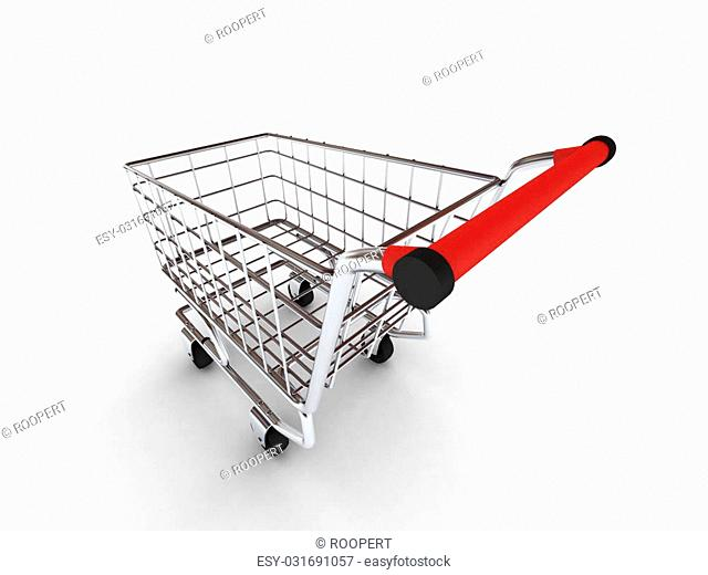 Shopping cart isolated on white background. High quality 3d render