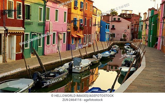 Tranquil dawn canalside scene, Burano, Venetian Lagoon, Veneto, Italy, Europe