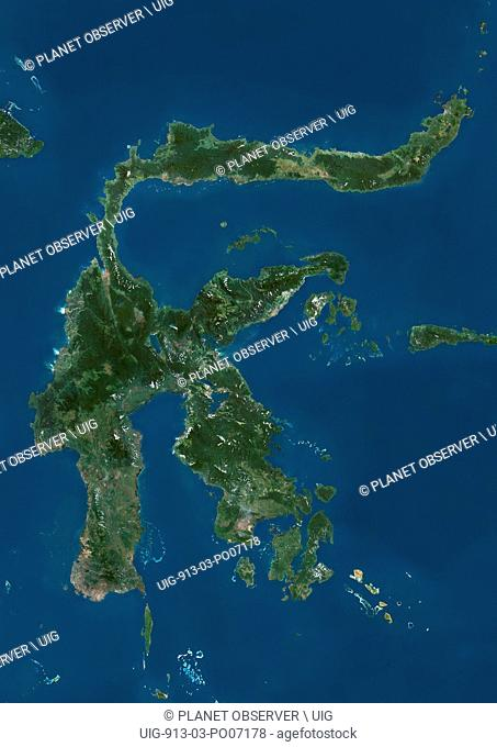Satellite view of Sulawesi, Indonesia. This image was compiled from data acquired by Landsat satellites