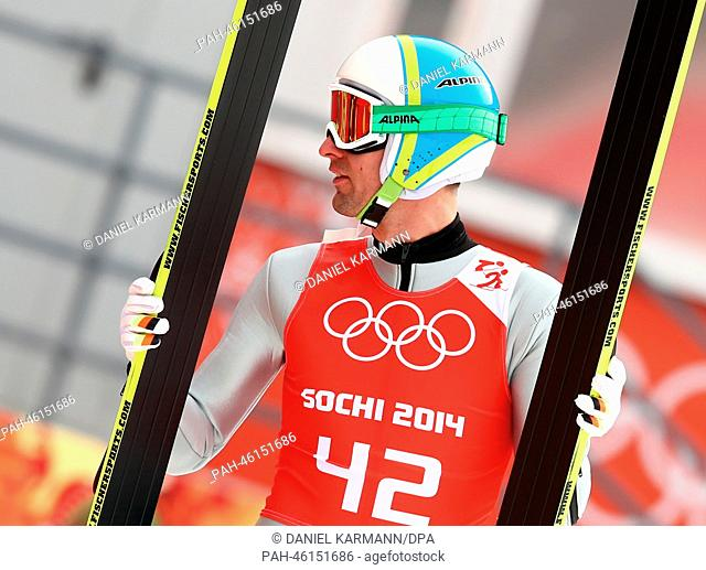 Bjoern Kircheisen of Germany reacts during a Nordic Combined Ski Jumping Training in RusSki Gorki Jumping Center at the Sochi 2014 Olympic Games